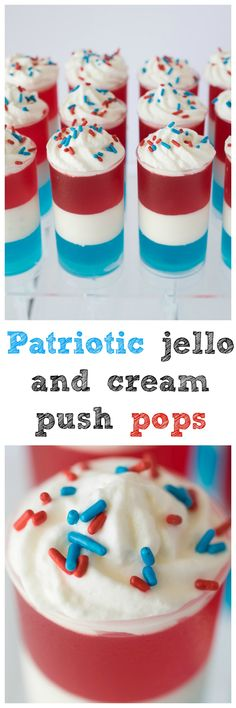 Patriotic jello and cream push pops. Perfect for your Memorial Day barbecue
