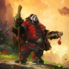 Preview wallpaper world of warcraft, mists of pandaria, panda, dragon, staff, scroll 2048x2048