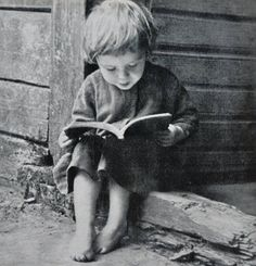 Little boy reading, 1933, Photo by Balys Buračas