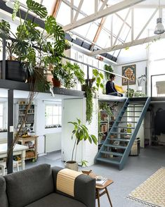 deco loft atelier vegetal dream house luxury home house rooms bedroom furniture home bathroom home modern homes interior penthouse Deco Studio, Loft Studio, Studio Home, Studio Loft Apartments, Studio Apartment Design, Art Studio Design, Blog Deco, Loft Design, Tiny House Design