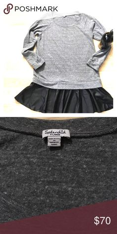Splendid sweatshirt/pleather drop waist dress! Super cozy sweatshirt material over a faux leather skater skirt. Pair with your favorite adidas or some rag & bone ankle boots Splendid Dresses