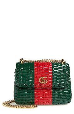 495faf6341b9 GUCCI Designer Small Linea Cestino Glazed Wicker Shoulder Bag