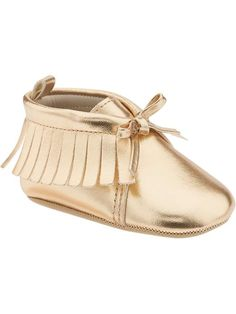 Old Navy baby Fall Fashion 2015. Metallic-Gold Moccasins for Baby