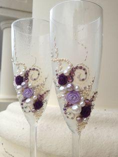 Wedding toasting flutes elegant champagne glasses by PureBeautyArt