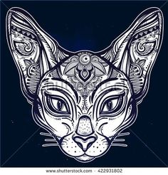 Vintage ornate cat head with tribal ornaments. Ideal ethnic background, tattoo art, Egyptian, Thai, spirituality, boho design. Perfect for print, posters, t-shirts and textiles. Vector illustration.