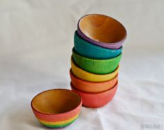 Waldorf Inspired Wood Rainbow Stacking Bowls by TheIndigoForest