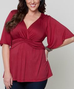 b9e01bcde93 Another great find on  zulily! Burgundy Lily Surplice Top - Plus by KIYONNA
