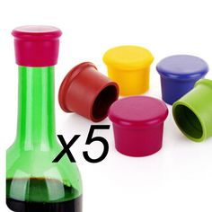 5pc New Wine Bottle Stopper Silicone Bar Tools Preservation Wine Stoppers Kitchen Wine Champagne Stopper Beverage Closures AU278