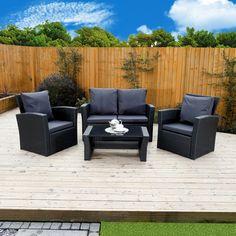 4 Piece Algarve Rattan Sofa Set in Black with Dark Cushions Black Rattan Garden Furniture, Outdoor Garden Furniture, Wicker Furniture, Furniture For You, Furniture Making, Outdoor Decor, Tan Leather Armchair, Leather Corner Sofa, Garden Wagon