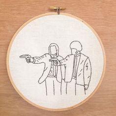 Pulp Fiction hand embroidery hoop art 90's Movies by emptydotroom