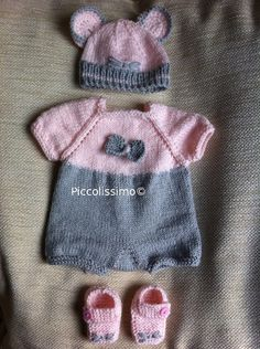 "Get this beautiful mouse romper set knitting pattern NOW! It will fit a 16"" baby reborn baby ooak https://www.etsy.com/listing/158492573/knitting-pattern-for-a-16-mouse-romper?ref=v1_other_1 #knitting pattern #knit for preemie #knit for baby #mouse set #piccolissimo"