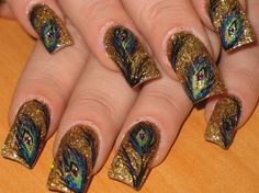 peacock on rockstar - Nails Style Photo Gallery | nailsstyle.com