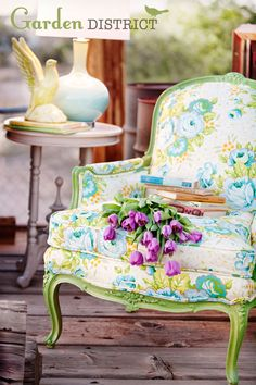 love this chair.  fabric: Garden District @ Heather Bailey