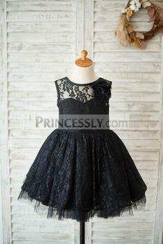 ac97a6686b2 Black Lace Tulle V Open Back Wedding Flower Girl Dress with Flower SKU   K1003549 Buy