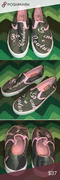 """Juicy Couture camo + pink slip on sneakers dog Juicy Couture slip on sneakers. Features awesome camo base with pink writing that says """"pink + couture,"""" embroidered dog logo, and white sole with crown logo. Well-made and high quality sneakers with a surprising amount of support. Super comfy! Used condition, worn once or twice. Size 8 💗💗💗 THANK YOU for viewing my closet! Offers encouraged. Juicy Couture Shoes Sneakers"""