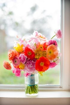 flowers bright orange and pink bouquet