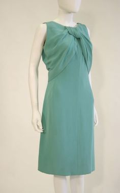 Dress, turquoise blue silk with knotted drape on bust, labelled Christian Dior Paris - automne-hiver 1962 - made in France, 116468, and label from Stanley Korshack with model name 'Ambassade' founder's collection