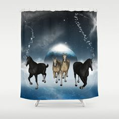 #Horses in the #universe #Shower #Curtain by nicky2342 - $68.00 Cow, Moose Art, Universe, Horses, Curtains, Cartoon, Shower, Animals, Rain Shower Heads