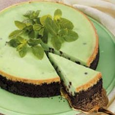 """Peppermint Chip Cheesecake Recipe -""""I love to make cheesecakes and frequently give them as gifts or donate them to fund-raisers,"""" notes Gretchen Ely from West Lafayette, Indiana.  """"This one is very popular."""""""