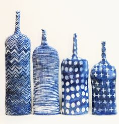 INDIGO TEXTILE BOTTLES by Brenda Holzke. Handbuilt stoneware bottles with colbalt carbonate decoration.