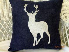 Embroidered Deer pillow Navy burlap pillow by JulieButlerCreations