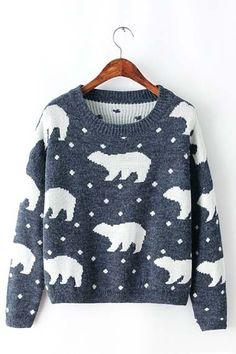Navy Long Sleeve Polar Bear Pattern Knit Sweater