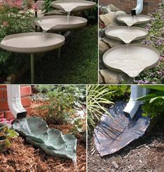 Decorative Splash Blocks Turn Into a Water Feature