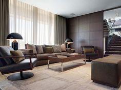 Contemporary & neutral palette penthouse living room.