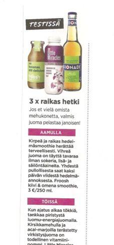 Me Naiset Sport testasi Froosh uutuutta elokuussa 2012.