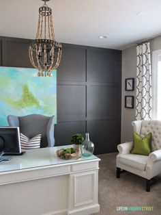 Love the curtains and chairs. Would look great in our dark grey master bedroom.