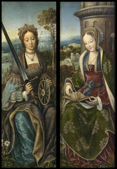 history-of-fashion:  1510-1520 Master of Frankfurt - St. Catherine, St. Barbara (wings of tryptich)