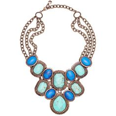Monet Necklace, Bronze Tone Turquoise Bead Show Stopper Necklace (405 BRL) ❤ liked on Polyvore featuring jewelry, necklaces, accessories, colar, украшения, women, turquoise stone jewelry, american jewelry, turquoise stone necklace and turquoise bead necklace