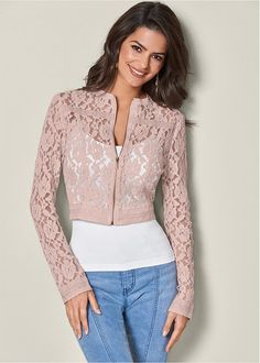 Shop women's Lace Crop Jacket in from VENUS clothing online or Discover jackets & coats in trendy styles at great prices today. Winter Jackets Women, Coats For Women, Clothes For Women, Work Clothes, Venus Clothing, Trendy Fashion, Womens Fashion, Womens Clothing Stores, Casual Chic