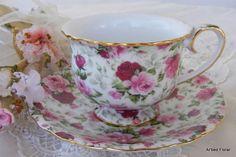 Pink Burgundy Roses TEACUP and SAUCER Set ~ Porcelain