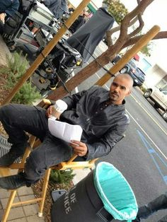 Derek Morgan going over  his lines