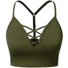 J.TOMSON Womens sleeveless Strappy Bustier Crop Tank Bralette Top (39 BRL) ❤ liked on Polyvore featuring tops, shirts, crop tops, bralette tops, strappy bralet top, crop top, green top and cami crop top