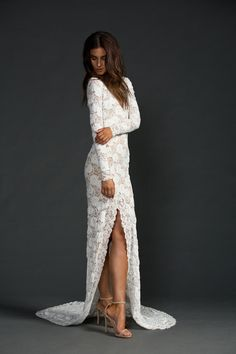 The chic Grace Loves Lace Kate dress. For the beautiful, alluring and glamourous bride. Made from luxurious stretch French lace designed exclusively for Grace Loves Lace, this wedding dress is the perfect dress for a bride seeking uncompromised beauty and sophistication on her wedding day. xx www.graceloveslace.com.au  #bohowedding #bohobride #bohemianwedding #chicbride #laceweddingdress #weddingdress #lacedress