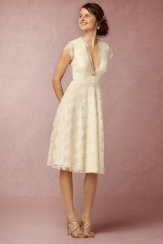 BHLDN Aaliyah Dress in Bride Reception & Rehearsal Dresses at BHLDN love the unique lace pattern on this dress. might work under a long skirt