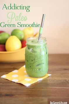 This is the best tasting #paleo green #smoothie we have found! And it is packed with nutrients. Super addicting :)