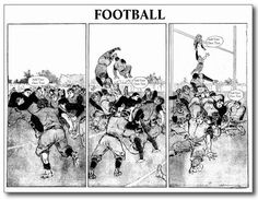 Football Action - Postcard Template. Change the dialogue on this vintage football scene postcard http://www.zazzle.com/football_action_postcard_template-239059508442571708 #postcard #football #card #sport
