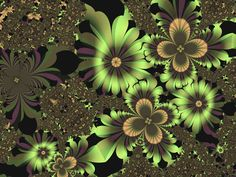 Green Flowers   Fractal Art by Vicky Brago-Mitchell    Fractal illusion of green and purple blossoms and clusters of flowers.