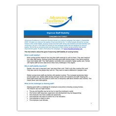 Advancing Excellence: Consumer Fact Sheet for Improving Staff Stability - Qsource What Is Nursing, Nurse Staffing, Stability, Feel Better, Effort, The Unit, Positivity, Feelings, Wedding Ring