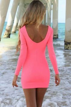 Bright pink long sleeve dress #fashion #summer