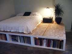 Creative Minimalist Style of DIY Platform Bed with Storage