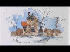 Line and wash demonstration of a Stone Farmhouse watercolor. Easy to follow and learn. - YouTube