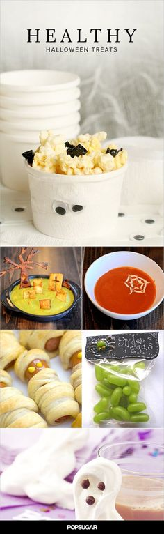 Frankenstein kiwis....pretzel brooms....banana ghosts!!! 14 Healthy and fun Halloween treats that will surely bring smiles to both parents and kids!