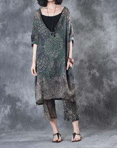 Plunging Neck Linen Oversized Shirt Dress Summer Designer Vintage Dress    #retro #vintage #amazing #fashion #over50 #style #elderly #senior