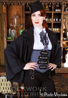 Custom Steampunk Military Tails Corset - Victorian Cotton Corset - Felicia Day -  Made to order. $449.95, via Etsy.