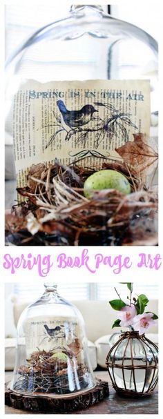 Spring Book Page Art.Vintage book page art. Print graphics onto book pages for unique art.