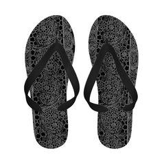 Vintage Lace Floral White Black Flip Flops